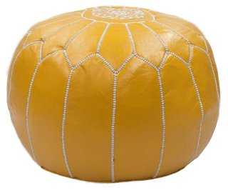 Moroccan Leather Pouf, Saffron - One Kings Lane