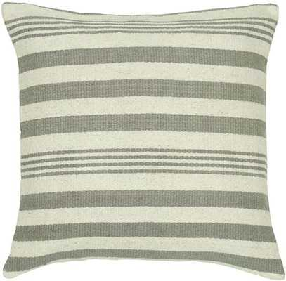 "STOCKPORT STRIPED PILLOW - 24""H x 24""W - Ivory/Grey - Polyester fiber insert - Home Decorators"