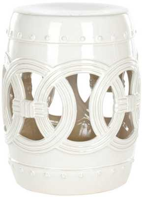White Double Coin Garden Stool - Domino