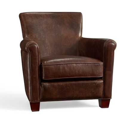 Irving Leather Armchair, Bourbon - Leather, Molasses - Pottery Barn