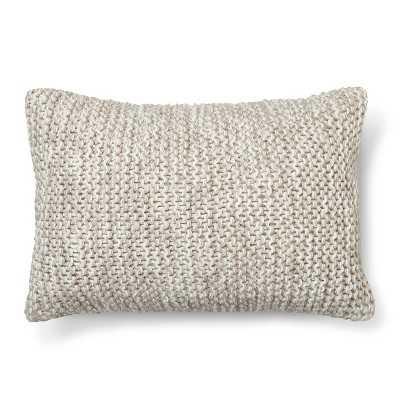 "Chunky Knit Decorative Pillow Oblong Grey - 20""L x 14""W - Polyester  fill - Target"