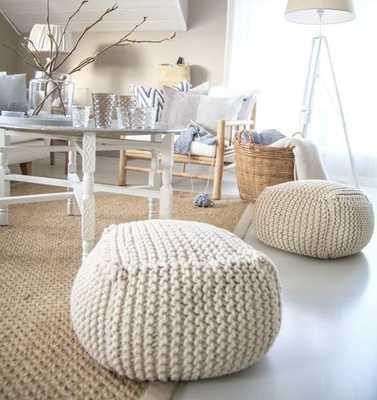 Chunky merino wool Knit White pouf-Stuffed-Cream - Etsy