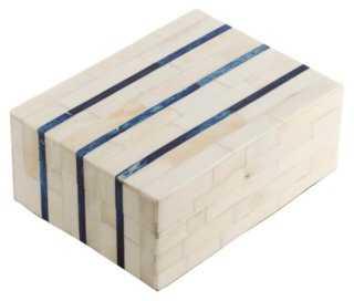 Double-Stripe Bone Tile Box - One Kings Lane