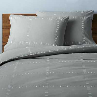 Set of 2 SAIC origin grid grey standard pillowcases - CB2