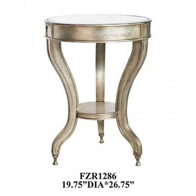 Crestview Rectangle Metal Leaf Beverly Mirrored Accent Table - nationalfurnituresupply.com