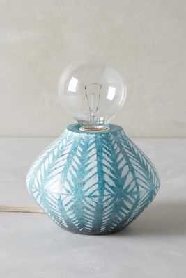 Handpainted Earthenware Lamp Base-Teal - Anthropologie