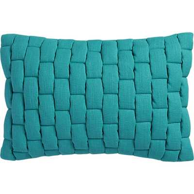 "Mason quilted teal 18""x12"" pillow with down-alternative insert - CB2"