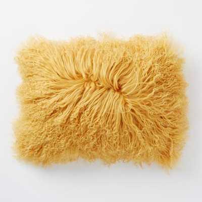 "Mongolian Lamb Pillow Cover - Horseradish (12"" x 16"")- No Insert - West Elm"