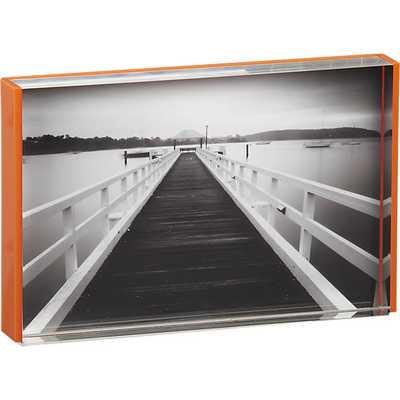 Acrylic orange rim 4x6 picture frame - CB2