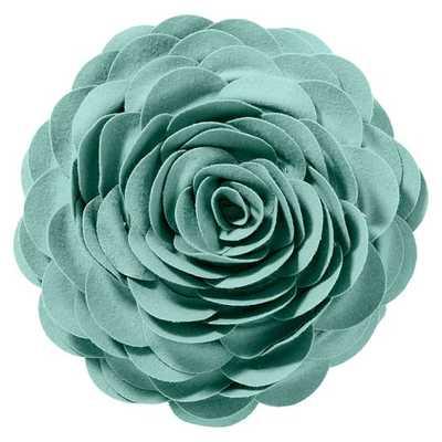 "Flora Felt Pillow - Pool - 14"" diameter - Polyester fill insert - Pottery Barn Teen"