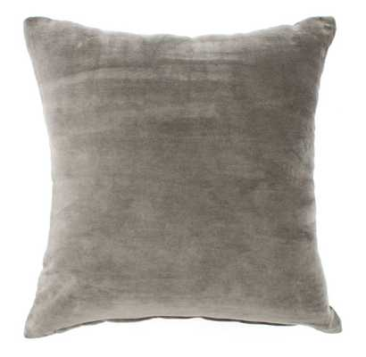 Pillow- Velvet Grey-20''x 20''- Feather insert - Domino