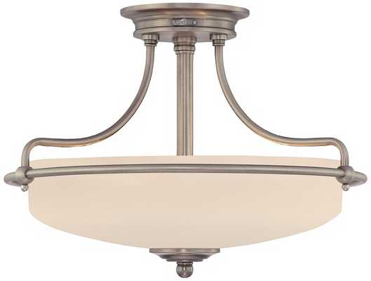 "Griffin Collection Antique Nickel 17"" Wide Ceiling Light - Lamps Plus"