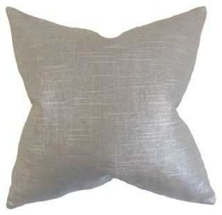 Shimmer Cotton Pillow, 18x18 - Gray - Feather/down insert - One Kings Lane