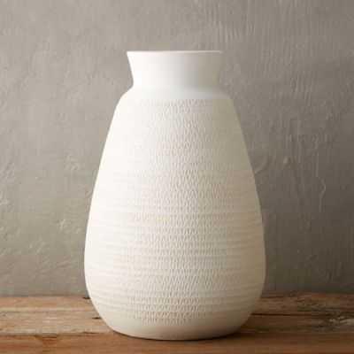 Pressed Earthenware Vase-Ivory - shopterrain.com