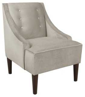 McCarthy Swoop-Arm Chair, Velvet Gray - One Kings Lane