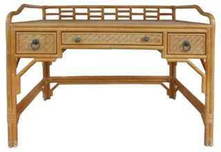 Midcentury Rattan Desk w/ Woven Panels - One Kings Lane