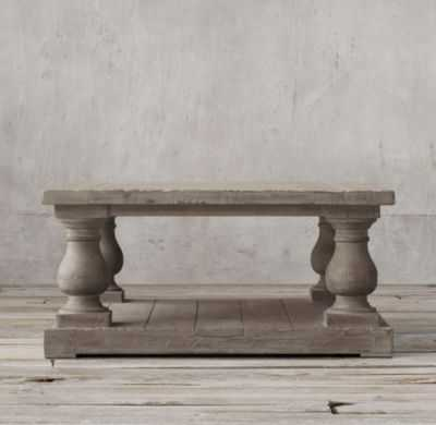 BALUSTRADE SALVAGED WOOD SQUARE COFFEE TABLE - RH