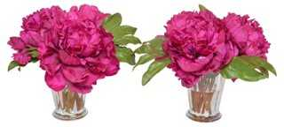 "S/2 9"" Magenta Peony Arrangements, Faux - One Kings Lane"