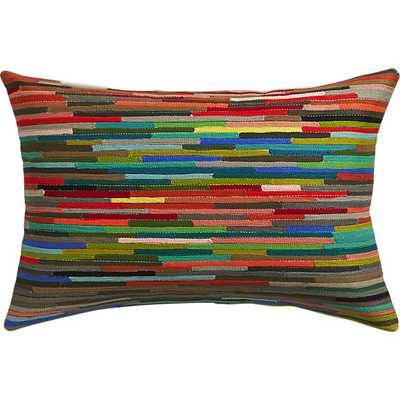 """Rapid transit embroidered 18""""x12"""" pillow with feather-down insert - CB2"""