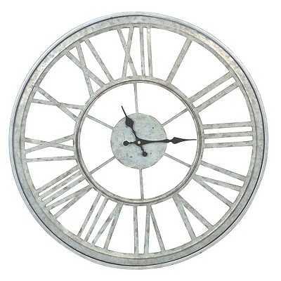 Threshold Outdoor Galvanized Clock - Target