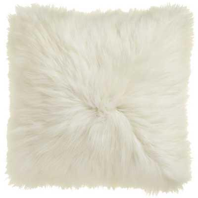 "Icelandic sheepskin 24"" pillow-cushion with feather insert - CB2"