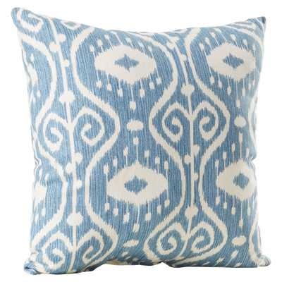 "Ballerup Cotton Blue and off-white Throw Pillow - 16.5""H x 16.5""W - Polyester fiber insert - Wayfair"