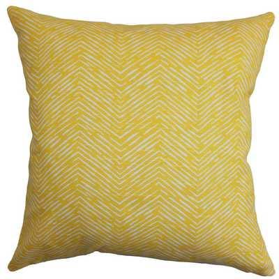 Delgado Cotton Throw Pillow - Corn Yellow - 18''x18'' - Down/Feather Insert - AllModern