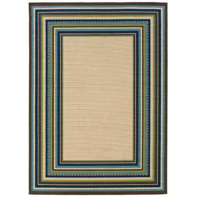 """Capri Indoor/Outdoor Border Ivory & Blue Area Rug - 7'10"""" x 10'10"""" - Wayfair"""