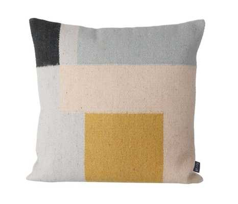 """Kelim Cushion - Squares - 19.69"""" L X 19.69"""" W - Feather and down fill - Domino"""