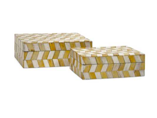 Essentials Mellow Yellow Bone Boxes, Set of 2 - High Fashion Home