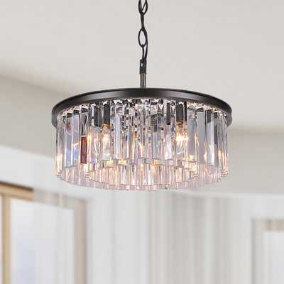 Justina 5-light Antique Black Chandelier with Crystal Glass Prisms - Overstock