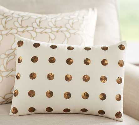 Anza Sequin Dot Pillow - 12x16 - White/Gold - With Insert - Pottery Barn