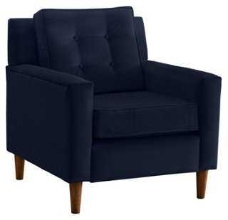 Winston Chair, Navy Velvet - One Kings Lane