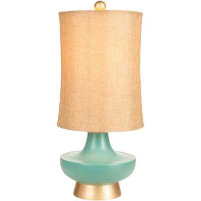 Turquoise over Bronze Natural Shade Lamp - Overstock