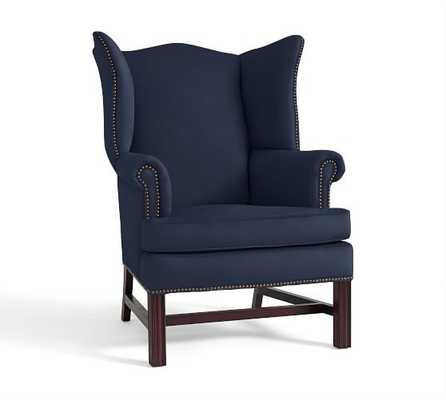 Thatcher Upholstered Wingback Chair - Twill, Cadet Navy - Pottery Barn