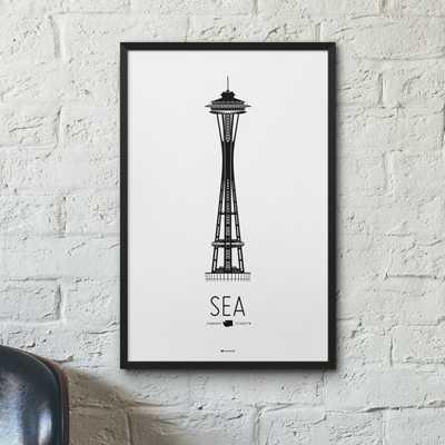 Seattle Icon City Print - Minimalist Poster - Space Needle - Etsy