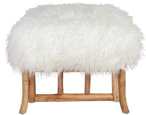 Faux Mongolian Lamb Fur Ottoman - Society Social