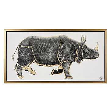 Gilded Rhino - 42''W x 22''H - Framed (Gold) - Z Gallerie