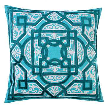 "Toulouse Pillow 22"" - Aqua/White - Feather/down insert - Z Gallerie"