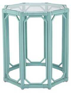 Short Eloise Octagonal Side Table, Aqua - One Kings Lane