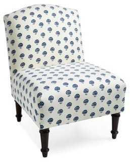 Clark Slipper Chair, Blue Dandelion - One Kings Lane