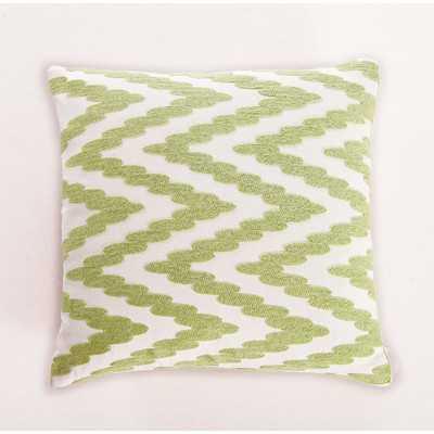 """Embroidered Chevron Dot Cotton Throw Pillow- Green- 18"""" H x 18"""" W x 5"""" D-  Polyester/Polyfill insert - Wayfair"""