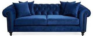 Saretta Tufted Velvet Sofa, Blue - One Kings Lane
