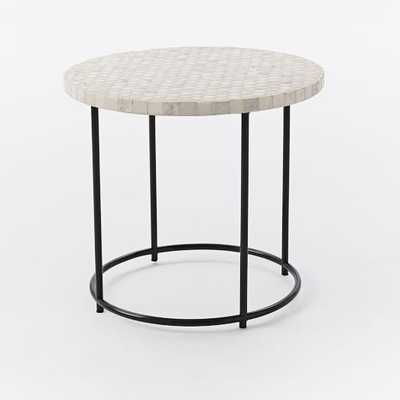Mosaic Tiled Side Table - White Marble Top + Metal Base - West Elm