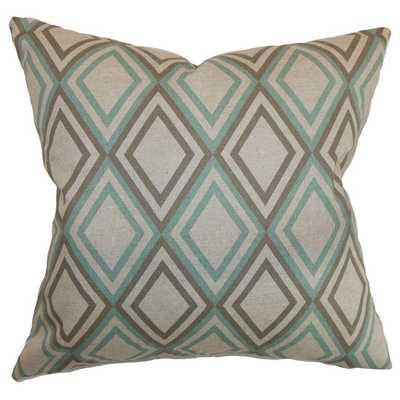 "Elmore Geometric Cotton Throw Pillow - Eaton Blue Kelp- 20"" H x 20"" W- Polyester/Polyfill insert - AllModern"