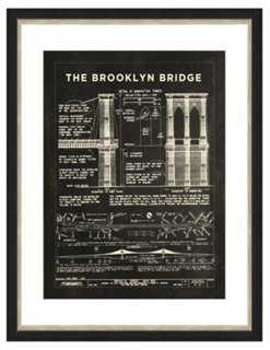 Brooklyn Bridge Patent Print in Slate - One Kings Lane