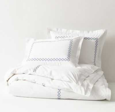 EMBROIDERED OGEE FRETWORK DUVET COVER-Twin - RH Teen