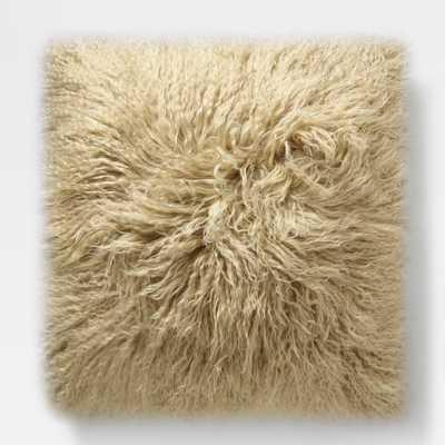 "Mongolian Lamb Pillow Cover - Pebble (24"" Sq.) - West Elm"