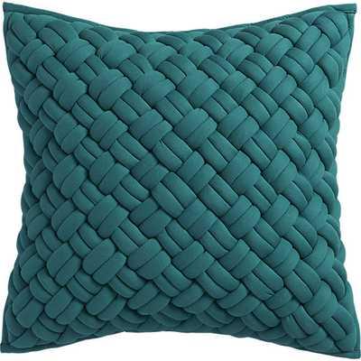 "Jersey interknit green 20"" pillow with feather insert - CB2"
