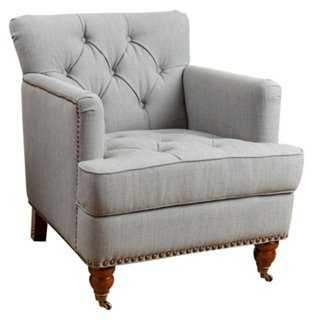 Jeremy Tufted Club Chair, Gray Linen - One Kings Lane